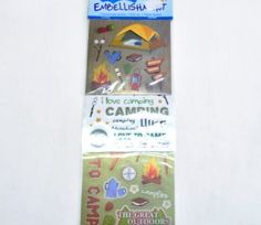 Camping Sticker Embellishments on sale for Creative Crafts, Embellishments, Paradise, Camping, Scrapbook, Stickers, Art, Campsite, Art Background