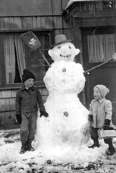 ~ Vintage photo of kids with their snowman ~