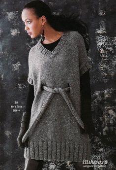 Оригинальная туника серого цвета с поясом вязаная спицами