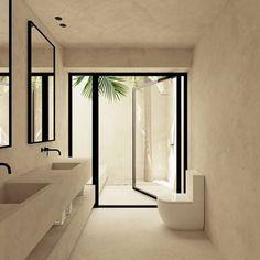 Imagen hecha para OOAA arquitectura de vivienda en Menorca #3d #3ds #3dsmax #scene #image #photoshop #architecture #interior #vray #OOAA #OOAAarqui... Mexico House, Modern Interior Design, Oversized Mirror, Menorca, Bathroom, Spain, Tropical, Photoshop, Furniture