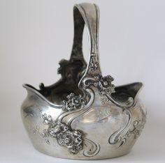 Russian art nouveaux   Antique Russian Art Nouveau Silver Basket by ...   Antiques and old t ...