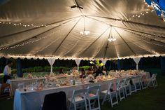 White tent with lighting at Lani