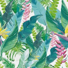 Illustration about Watercolor artwork of exotic flowers and leaves. Illustration of element, fern, green - 44268303 Tropical Flowers, Tropical Leaves, Exotic Flowers, Watercolor Artwork, Watercolor Illustration, Watercolor Flowers, Illustration Jungle, Art Floral, Jungle Flowers