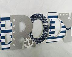 Nautical letters, nautical nursery letters, wooden letters, nautical nursery boy, wooden letters for boy