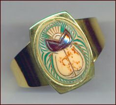 Egyptian Revival glass scarab cuff bracelet