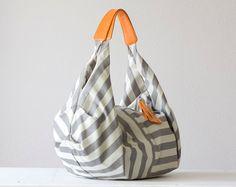 Kallia bag in stripe cotton and orange leather by milloo on Etsy, $75.00