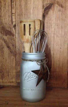 Brushed Nickel  Mason Jar Utensil Crock  Painted by HeartlandHope
