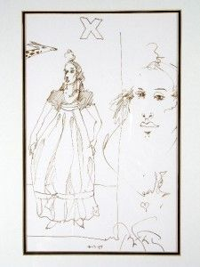 "Ramon Santiago ""Figure With Giraffe"" Original Drawing"