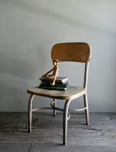 .@Michele Rose child's school chair by heywood wakefield