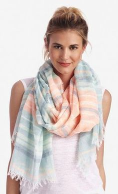 lightweight mixed stripe scarf