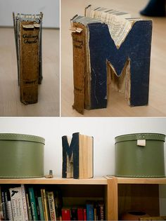 I made something for my bookshelf. I would have spelled out my whole name but I didn't have enough £1 thrift-store books lying around.  1933 edition of Gulliver's Travels + garden saw + camera.