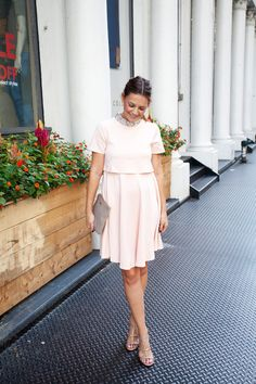 Caroline styles the ASOS Maternity Scuba Skater Dress to a Brooklyn wedding.