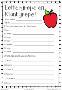 Afrikaans Language, Teachers Aide, School Tool, Teaching Techniques, Teaching Aids, Positive Behavior, Language Activities, Too Cool For School, Worksheets For Kids