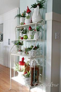 Decorating a Bakers Rack | visit thebungalowblog com