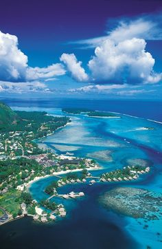Tahiti - Bora Bora - Gorgeous view of some of the over-water bungalows stretching out across the lagoon  .  .  .  image credit:   http://cdn.indulgy.com/0j/0F/7E/20407004531128580yW8ZbOZ0c.jpg   .  .  .  see also:  snow.TheAmbitStory.com #vacation  #indulge #Ambit