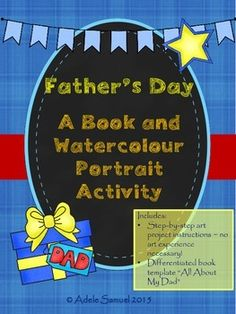 """Father's Day Portrait and """"All About My Dad"""" Writing Activity Canadian Spelling Watercolor Portraits, Watercolour, Differentiated Instruction, Writing Activities, Portrait Art, My Dad, Art Lessons, Spelling, The Book"""