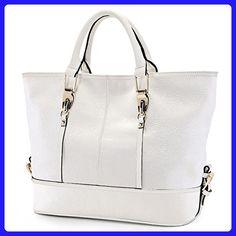 Qiwang Fashion Big Size Lady Cowhide Leather Casual Tote Top Handle Handbag Style Purse Satchel Bag for Women (white) - Satchels (*Amazon Partner-Link)