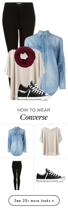 """""""Untitled #1233"""" by hannaczerny on Polyvore featuring Topshop, Yves Saint Laurent, Grey Line By Hussein Chalayan and Converse"""