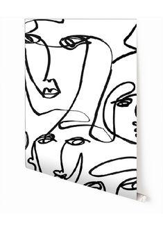 WALLPAPER : FEMME©️ // BLACK + WHITE - drop it MODERN - Modern and contemporary interior designed wallpaper for the studio and home. | #wallpaper #InteriorDesign #HomeDecor #bedroom #bathroom #kitchen #LivingRoom #designer #luxury #traditional #FarmHouse #MidCenturyModern