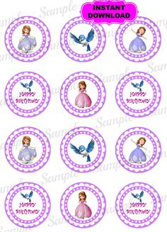 """Sofia the First 2"""" Cupcake Topper - Favor Tags - Printable - Digital  - Happy Birthday Tags - Gift Tags - Instant Download on Etsy, $2.28"""