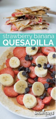 A fun breakfast or an after school snack, either way this yummy Strawberry Banana Quesadillas recipe is a tasty option! A fun breakfast or an after school snack, either way, this yummy Strawberry Banana Quesadillas recipe is a tasty option! Healthy too! Good Healthy Recipes, Healthy Snacks For Kids, Yummy Snacks, Healthy Desserts, Healthy Drinks, Gourmet Recipes, Yummy Food, Healthy Shakes, Healthy Breakfasts