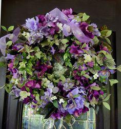 Summer Wreath Floral Wreath   Wreath  Door Wreath  by forevermore1