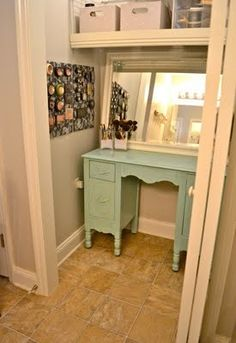 Liz Marie: Makeup Storage {Part    Closet Vanity, Much Like What I Will  Have Soon.