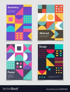 Retro swiss graphic posters with geometric bauhaus Design Typography, Graphic Design Posters, Graphic Design Inspiration, Branding Design, Geometric Poster, Geometric Shapes, Geometric Graphic Design, Banner Design, Layout Design