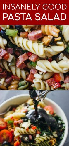 This is an insanely good pasta salad drizzled with a balsamic dressing. This is an insanely good pasta salad drizzled with a balsamic dressing. Easy Pasta Salad Recipe, Best Pasta Salad, Summer Pasta Salad, Pasta Salad Italian, Pasta Recipes, Cooking Recipes, Meat Salad, Soup And Salad, Chef Salad