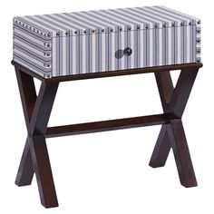Hand-painted striped side table with 1 drawer and nailhead trim.  Product: Side tableConstruction Material: MDF
