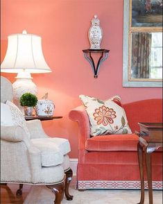Pantone have officially announced that living coral is the color of How to incorporate this bold and warm color into your home decor to make it trendy? Coral Living Rooms, Living Room Decor Colors, Living Room Designs, Coral Pantone, Pantone Color, Coral Home Decor, Coral Walls, Color Of The Year, Colorful Decor