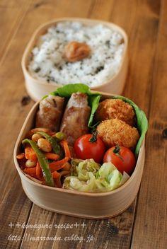 一口えびカツ(タルタルソースを別添で) れんこんの塩昆布炒め の豚肉巻き 野菜と大豆のケチャップマスタード炒め きゃべつのお浸し 日の丸ごはん