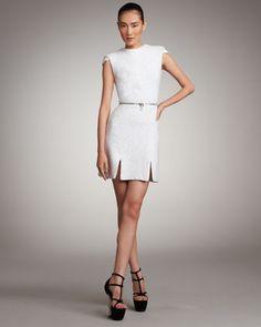 Zip-Waist Tweed Dress by Alexander McQueen at Neiman Marcus.