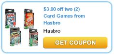 $3.00 off two (2) Card Games from Hasbro. New as of 10/9/12