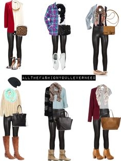 different outfits leather leggings