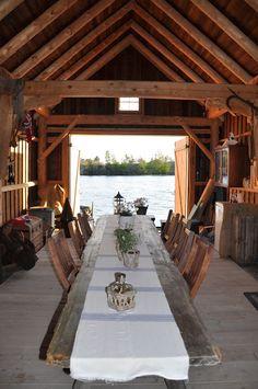 Dining room - in a boat house, Scandinavia Husmannsplassen i Hidlesundet Cabana, Dock House, Boat Shed, Haus Am See, Lakefront Property, Winter Cabin, Boat Dock, Lake Dock, Rustic Design