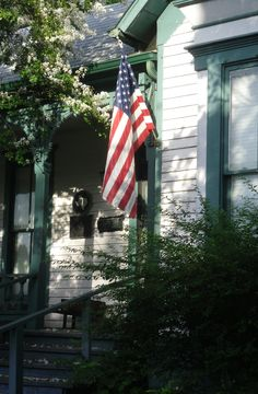 Old Glory On American Farm House  I have always dreamed of living in a farm house!