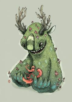 Weird critters! And Mushrooms. Behance :: forest girl by luiza kwiatkowska