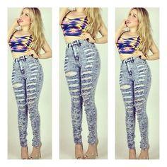 Plus Blue High Waist Distressed Acid Wash Jean Pants Size 1X,2X, or 3X