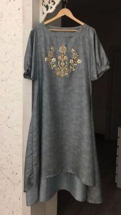 Beautiful Hand Embroidered Linen-silk Kurti.