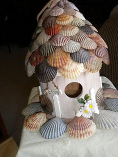 Sea Shell Shingles on a bird house. Great way to use the shells I collect