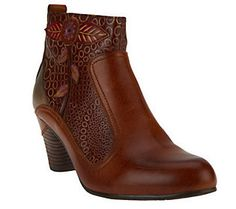Spring Step Parfum Leather Ankle Boots w/ Stacked Heel