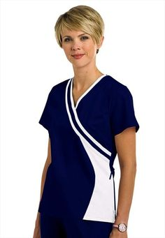 (Limited Supply) Click Image Above: Urbane Double Crossover Trim Scrub Top. Spa Uniform, Scrubs Uniform, Scrubs Pattern, Stylish Scrubs, Scrubs Outfit, Medical Uniforms, Uniform Design, Medical Scrubs, Scrub Tops