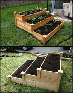 Enjoy gardening without the breaking your back with this tiered cedar raised garden bed.