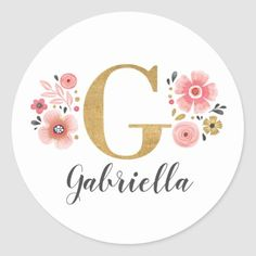 Shop Gold Pink Monogram Initial Letter G Classic Round Sticker created by BlackberryBoulevard. Floral Letters, Initial Letters, Monogram Initials, Monogram Wallpaper, Calligraphy Signs, Wedding Labels, Locked Wallpaper, Round Stickers, Custom Stickers
