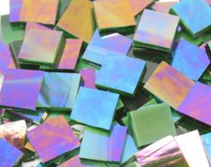 Dark Green Wispy Iridescent Hand Cut Stained Glass Mosaic Tiles - #94