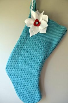 DIY Christmas Crafts : DIY Upcycled-Sweater Stocking with Felt Poinsettia
