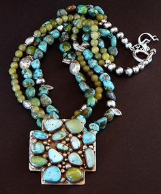 14-Stone Turquoise and Sterling Silver Cross Pendant with 3 Strands of Turquoise, Jade & Sterling