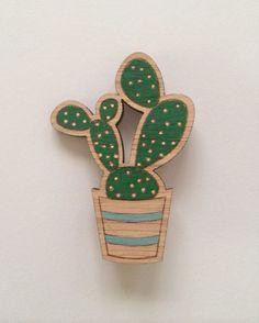 Wood laser cut brooch prickly pear cactus dark green and peach by SconnieAndJam on Etsy