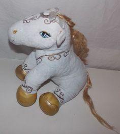 "Build A Bear Workshop Enchanted Pony Horse White Gold 13"" Stuffed Plush Toy"
